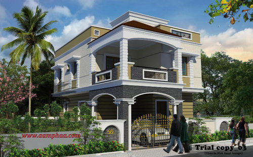 Modern House Design Bungalow First Class 2 Floor Low Cost: Exterior Front Entrance Design Ideas In Arumbakkam